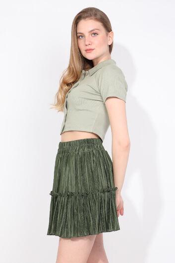 Kadın Yeşil Pliseli Mini Etek - Thumbnail