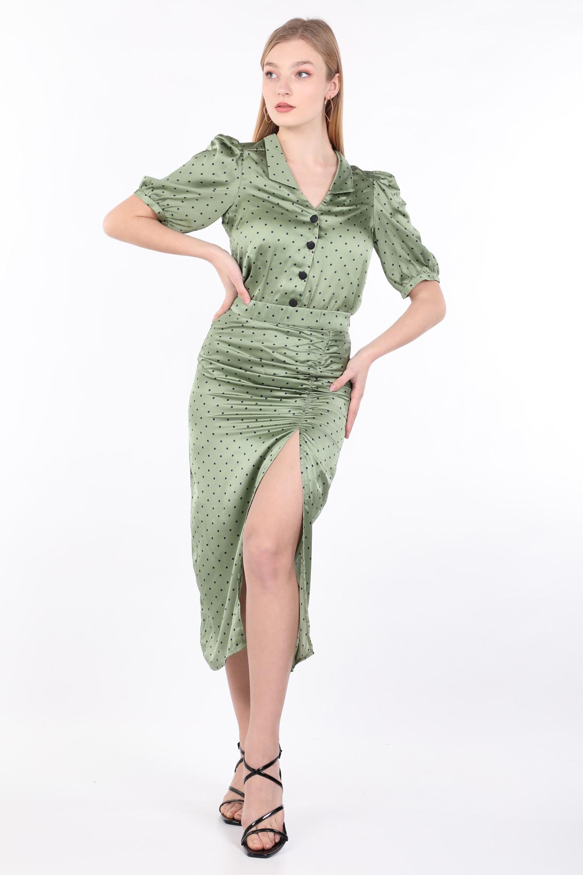 Kadın Yeşil Puantiyeli Büzgülü Etek Gömlek Takım