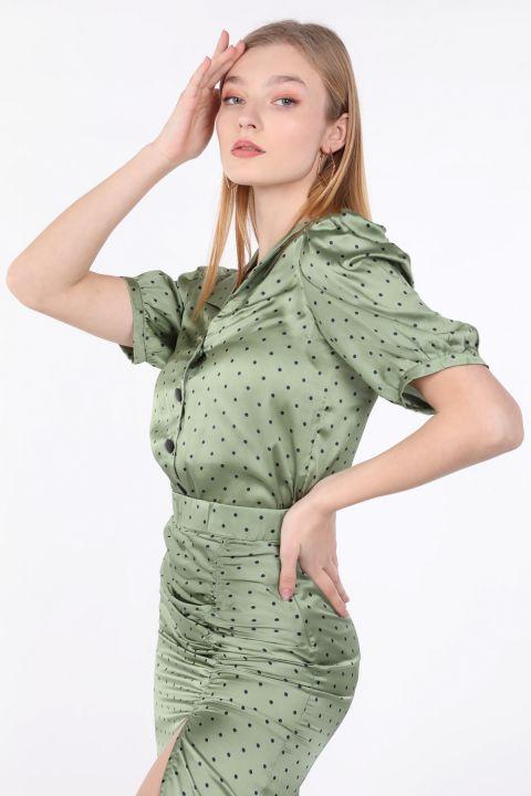 Kadın Yeşil Puantiyeli Yarım Kol Gömlek
