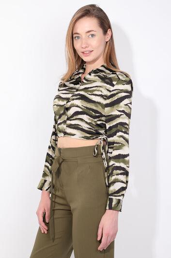 MARKAPIA WOMAN - Kadın Yeşil Zebra Desen Crop Gömlek (1)