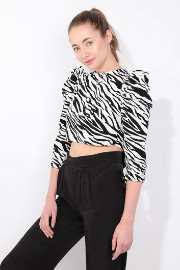 MARKAPIA WOMAN - Kadın Zebra Desenli Arkası Bağlamalı Crop Bluz (1)
