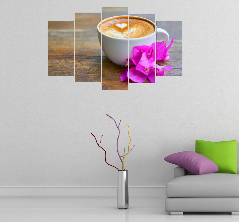 Kahve Temalı 5 Parçalı Mdf Tablo-3284