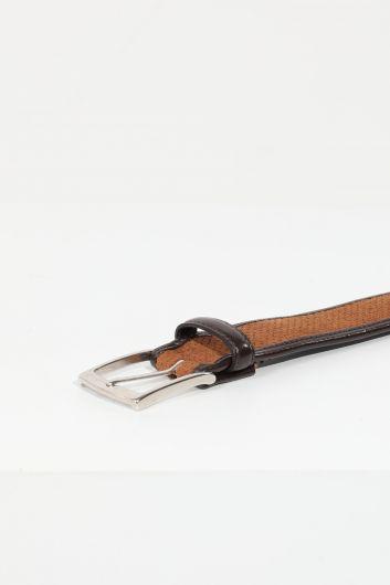 MARKAPIA - Мужской коричневый замшевый ремень в кожаную полоску (1)