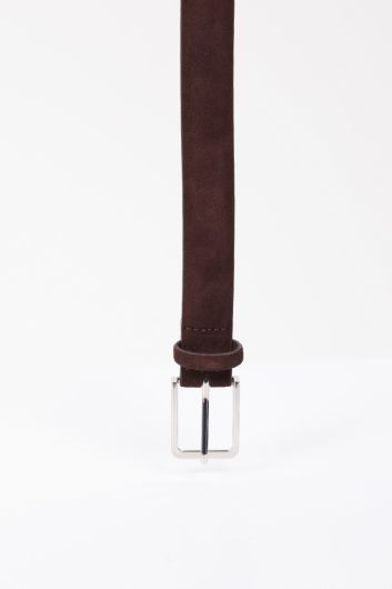 MARKAPIA - Men's Brown Suede Leather Belt (1)