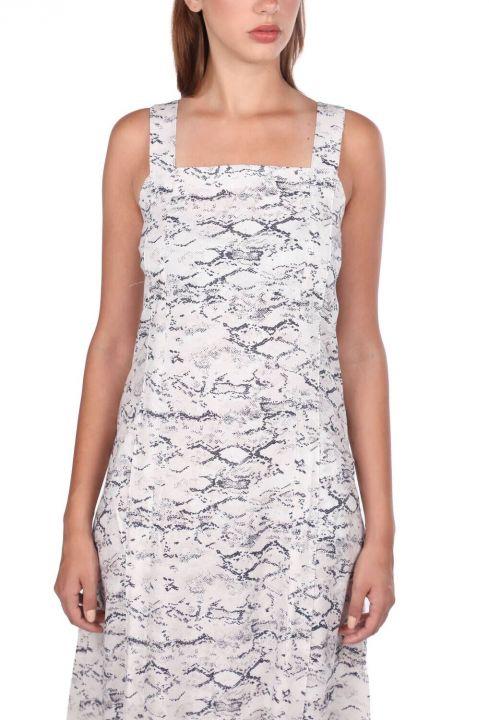 Kalın Askılı Yılan Desenli Elbise