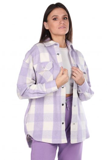 Kalın Ekose Lila Kadın Ceket - Thumbnail