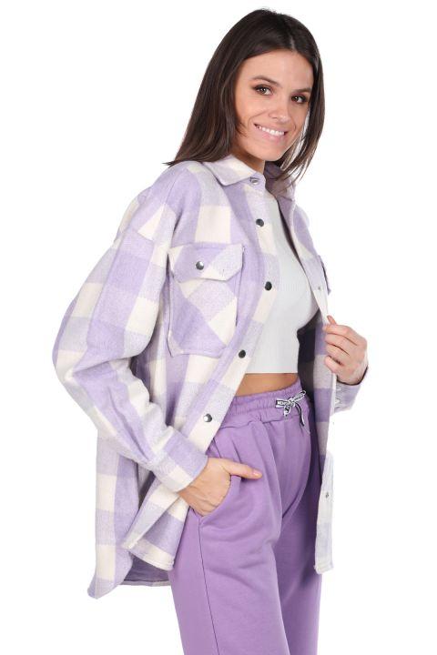 Kalın Ekose Lila Kadın Ceket