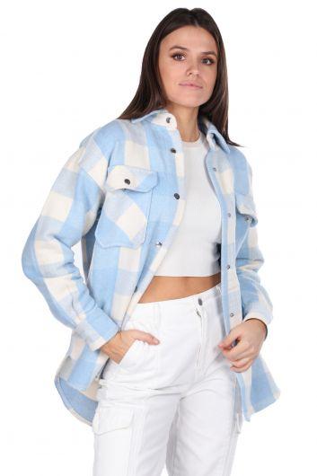 Kalın Ekose Mavi Kadın Ceket - Thumbnail