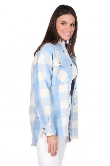 MARKAPIA WOMAN - Kalın Ekose Mavi Kadın Ceket (1)