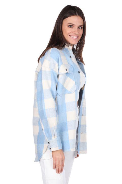 Kalın Ekose Mavi Kadın Ceket