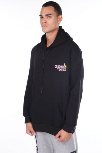 MARKAPIA MAN - Kangaroo Pocket Printed Hooded Black Men's Sweatshirt (1)