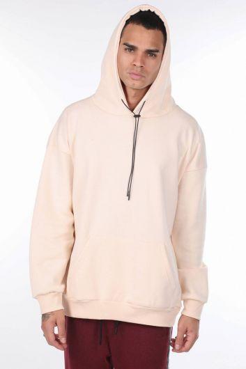 Kangaroo Pocket Ecru Men's Hooded Sweatshirt - Thumbnail