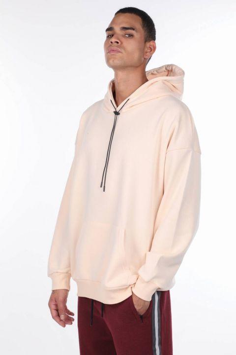 Kangaroo Pocket Ecru Men's Hooded Sweatshirt