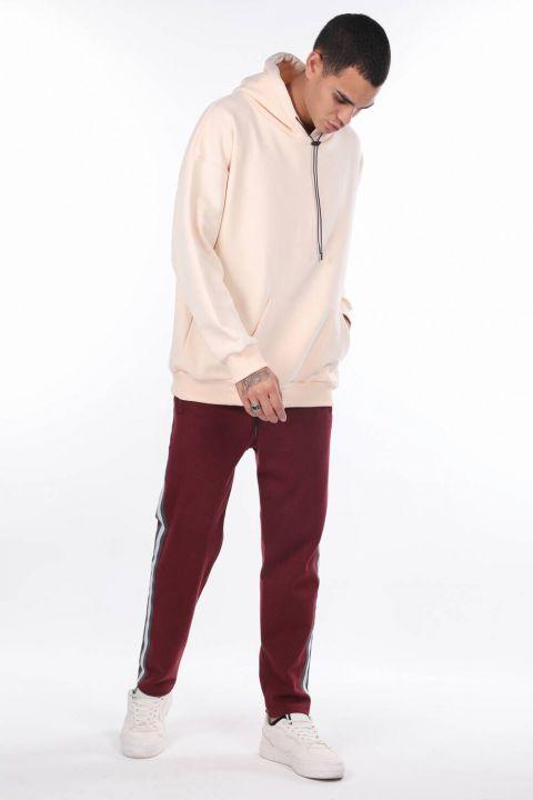 Мужская толстовка с капюшоном и карманом Kangaroo Pocket Ecru