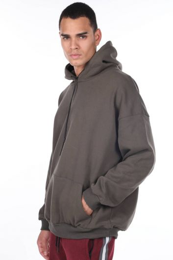 Мужская толстовка с капюшоном и карманом Kangaroo - Thumbnail