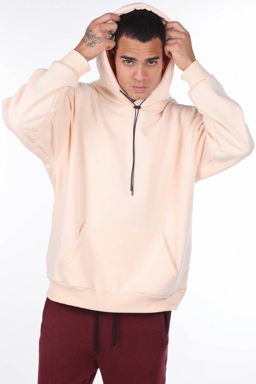 Kanguru Cepli Ekru Erkek Kapüşonlu Sweatshirt
