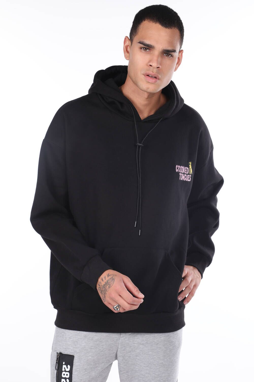 Kanguru Cepli Baskılı Kapüşonlu Siyah Erkek Sweatshirt