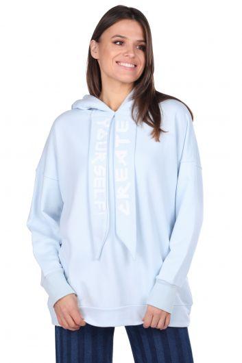 Mavi Kapüşonlu Basic Kadın Sweatshirt - Thumbnail