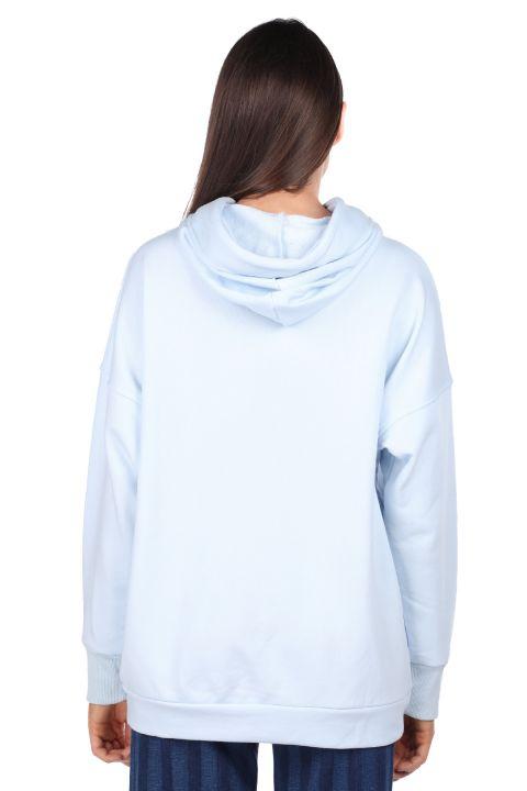 Mavi Kapüşonlu Basic Kadın Sweatshirt