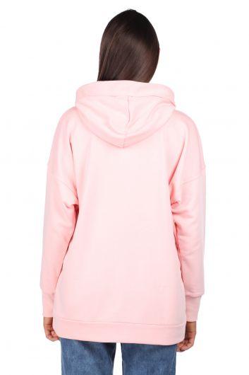 Kapüşonlu Basic Pembe Kadın Sweatshirt - Thumbnail