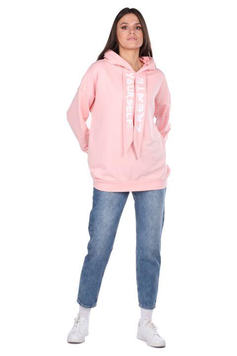 Kapüşonlu Basic Pembe Kadın Sweatshirt
