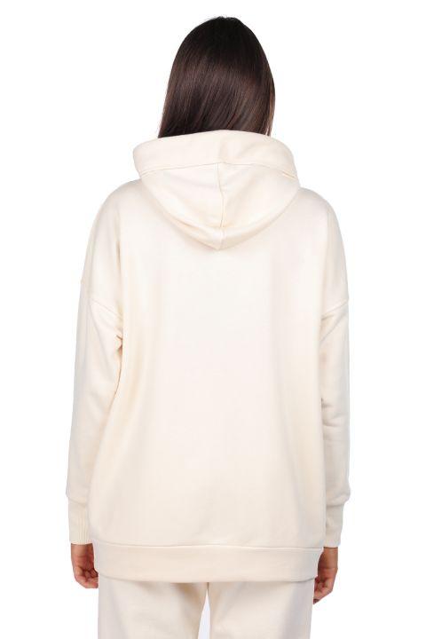 Kapüşonlu Basic Ekru Kadın Sweatshirt