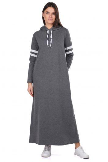 Kapüşonlu Basic Uzun Koyu Gri Kadın Sweat Elbise - Thumbnail