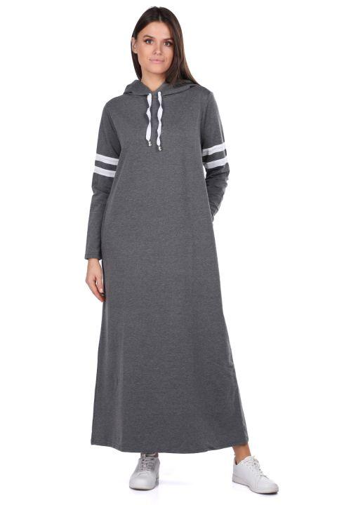 Kapüşonlu Basic Uzun Koyu Gri Kadın Sweat Elbise