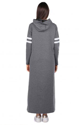 MARKAPIA WOMAN - Kapüşonlu Basic Uzun Koyu Gri Kadın Sweat Elbise (1)