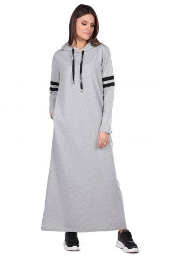 Kapüşonlu Basic Uzun Gri Kadın Sweat Elbise - Thumbnail