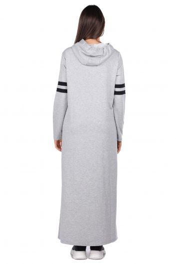 MARKAPIA WOMAN - Kapüşonlu Basic Uzun Gri Kadın Sweat Elbise (1)