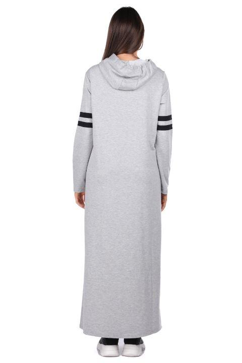 Kapüşonlu Basic Uzun Gri Kadın Sweat Elbise