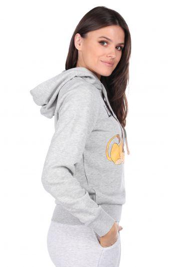 MARKAPIA WOMAN - Kapüşonlu Baskılı Gri Kadın Sweatshirt (1)