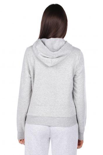 Kapüşonlu Baskılı Gri Kadın Sweatshirt - Thumbnail