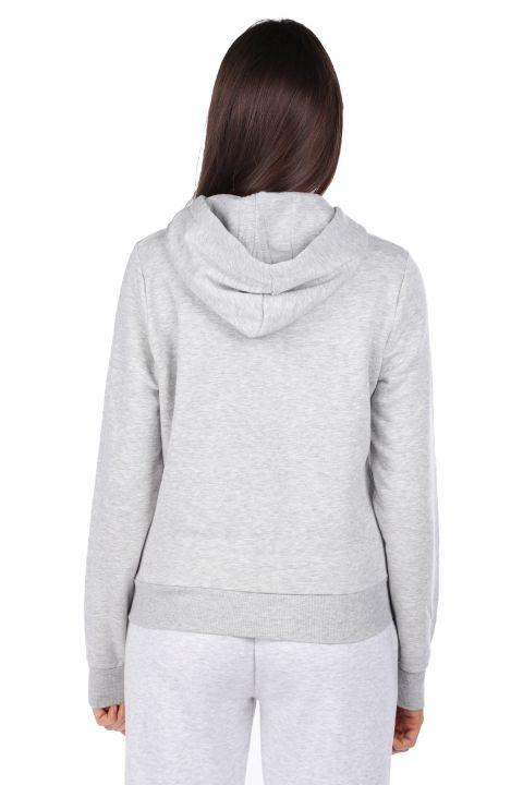 Kapüşonlu Baskılı Gri Kadın Sweatshirt