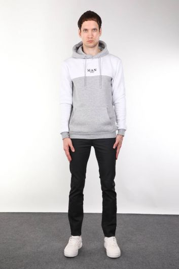 Kapüşonlu Cepli Şardonlu Erkek Sweatshirt - Thumbnail