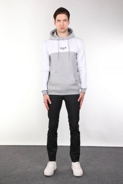 Kapüşonlu Cepli Şardonlu Erkek Sweatshirt