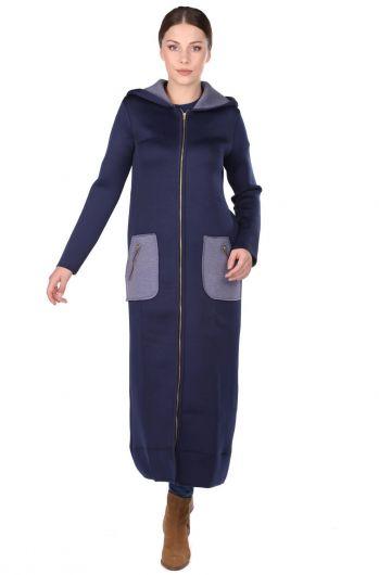 Lacivert Kapüşonlu Fermuarlı Scuba Uzun Kadın Kap - Thumbnail