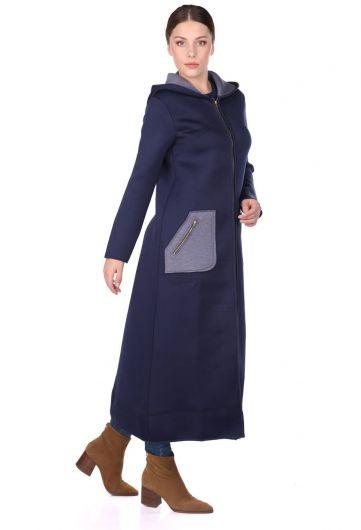 MARKAPIA WOMAN - Lacivert Kapüşonlu Fermuarlı Scuba Uzun Kadın Kap (1)