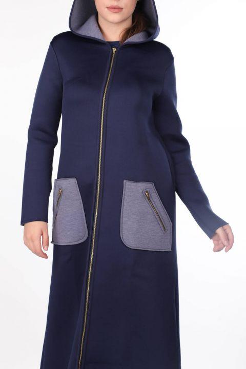 Lacivert Kapüşonlu Fermuarlı Scuba Uzun Kadın Kap