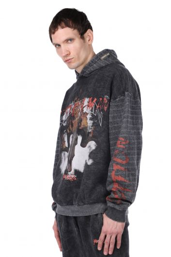 MARKAPIA MAN - Kapüşonlu İçi Polarlı Baskılı Erkek Sweatshirt (1)
