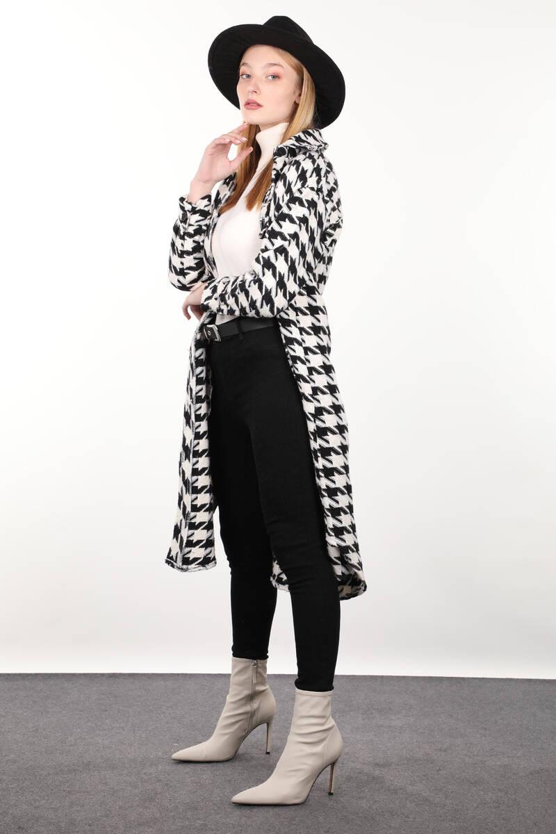 Kazayağı Desenli Cepli Uzun Kadın Ceket