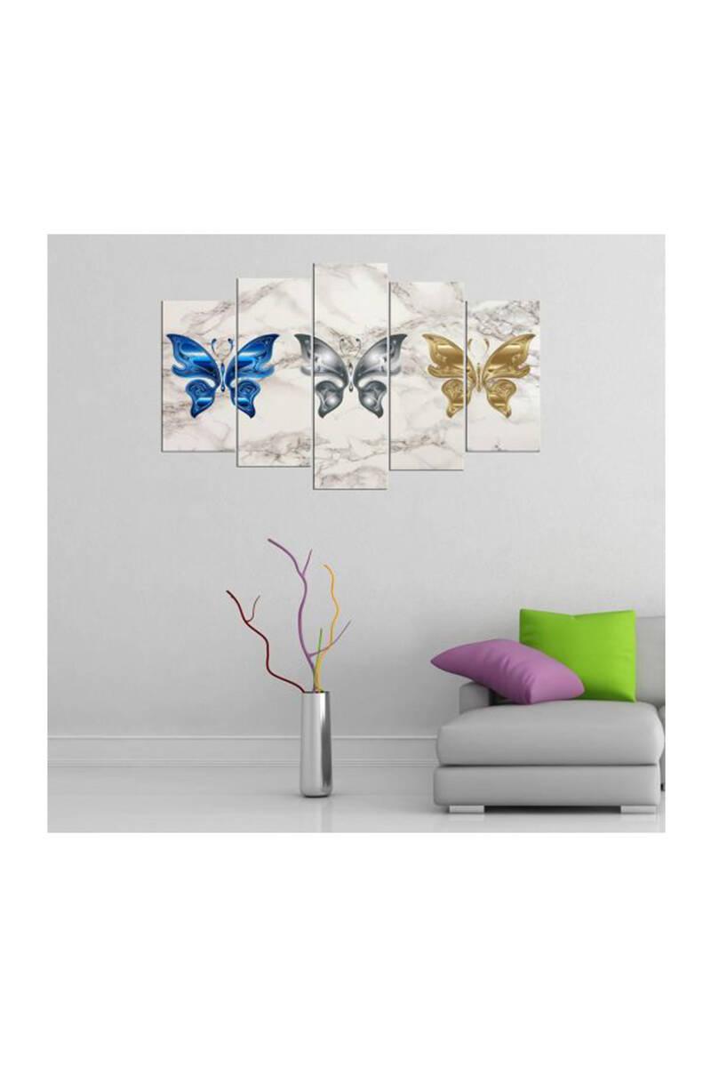 Kelebek Temalı 5 Parçalı Mdf Tablo-3321