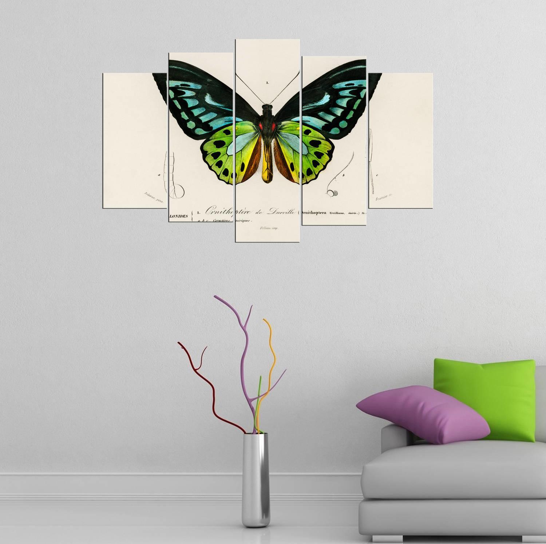 Kelebek Temalı 5 Parçalı Mdf Tablo-3442