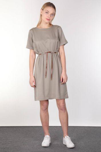 Khaki Belt Short Sleeve Women Dress - Thumbnail