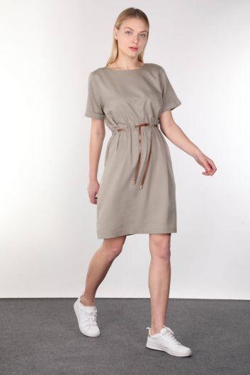 MARKAPIA WOMAN - Khaki Belt Short Sleeve Women Dress (1)
