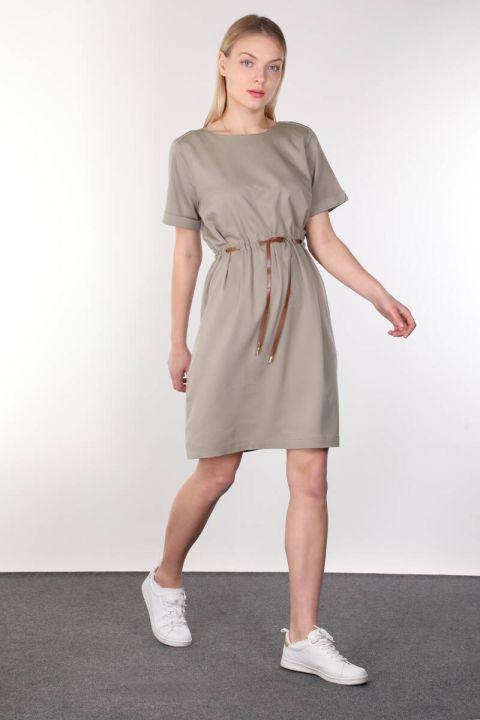 Khaki Belt Short Sleeve Women Dress