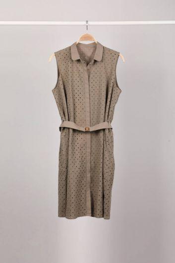فستان نسائي كاكي مبطن بالأزرار - Thumbnail