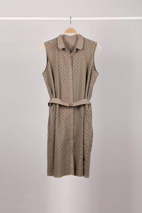 فستان نسائي كاكي مبطن بالأزرار