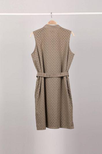 Женское платье цвета хаки на пуговицах с зубчатым краем - Thumbnail